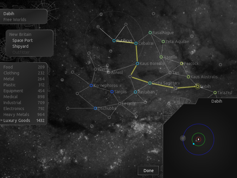 The galaxy map, with the current hyperspace route shown